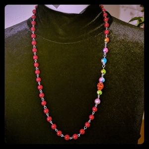 Red and Orange Skull Necklace